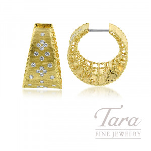 Roberto Coin 18k Yellow Gold Diamond Princess Hoop Earrings, 15.3G, .69TDW