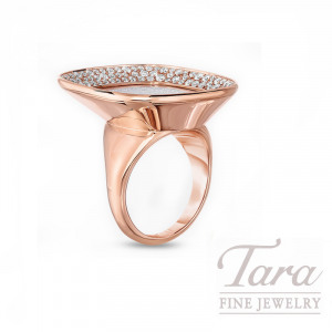 """Roberto Coin 18k Rose Gold Mother of Pearl and Diamond Ring, """"Carnaby Street"""" Collection"""