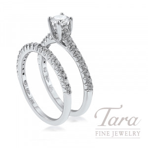 18k White Gold Diamond Wedding Set, .32CT Round Diamond, .40TDW