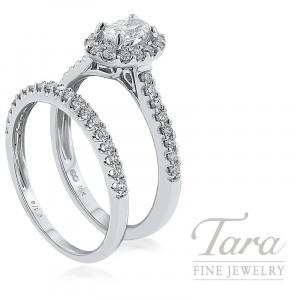 18k White Gold Oval Diamond Halo Wedding Set, .38CT Oval Diamond, .50TDW
