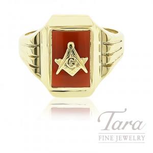 10K Yellow Gold Masonic Ring, 5.6G