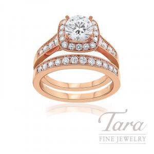 18k Rose Gold Diamond Halo Wedding Set, .81TDW (Center Stone Sold Separately)