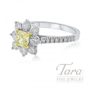 Forevermark 18K Two-Tone Flower Diamond Ring, .72CT Fancy Yellow Diamond, 1.02TDW