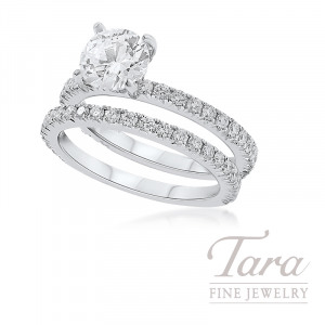 18K White Gold Diamond Wedding Set, .90TDW (Center Stone Sold Separately)