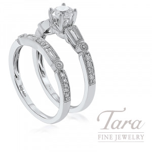 18k White Gold Baguette and Round Diamond Wedding Set, .49CT Round Diamond, .40TDW (Center Stone Sold Separately)