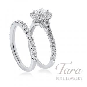 18K White Gold Diamond Halo Wedding Set, .41CT Round Diamond, .63TDW
