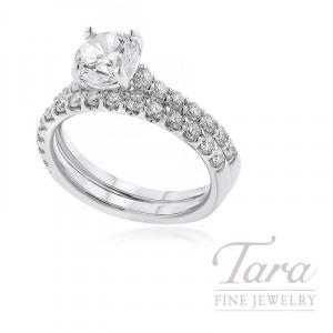 18k White Gold Diamond Wedding Set, .75TDW (Center Stone Sold Separately)