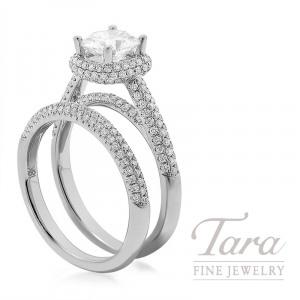 18K White Gold Pave Diamond Halo Wedding Set, .78TDW (Center Stone Sold Separately)