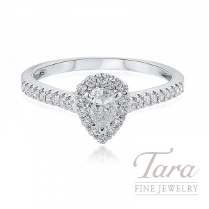 18K White Gold Pear-shape Diamond Halo Engagement Ring, .22CT Pear-shape Diamond, 2.1G, .25TDW