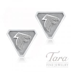 14K White Gold Atlanta Falcons Diamond Cufflinks, .44TDW