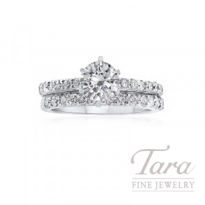 18K White Gold Round Diamond Wedding Set (Center Stone Sold Separately) - Click for Available Sizes!