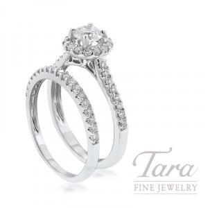 18K White Gold Diamond Halo Wedding Set, .50CT Round Diamond, .60TDW