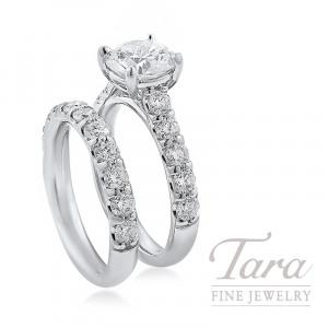 18K White Gold Diamond Wedding Set, 1.60TDW (Center Stone Sold Separately)