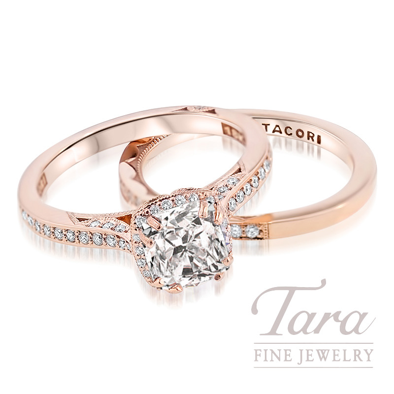 Forevermark Cushion Cut Diamond Ring, 1.02CT H/VS2 Center set in 18K Rose Gold Tacori Mounting