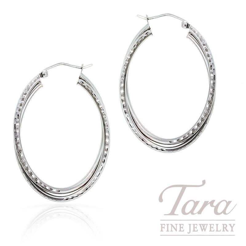 Hoop Earrings in 14K White Gold Diamond Cut,  3.5 Grams