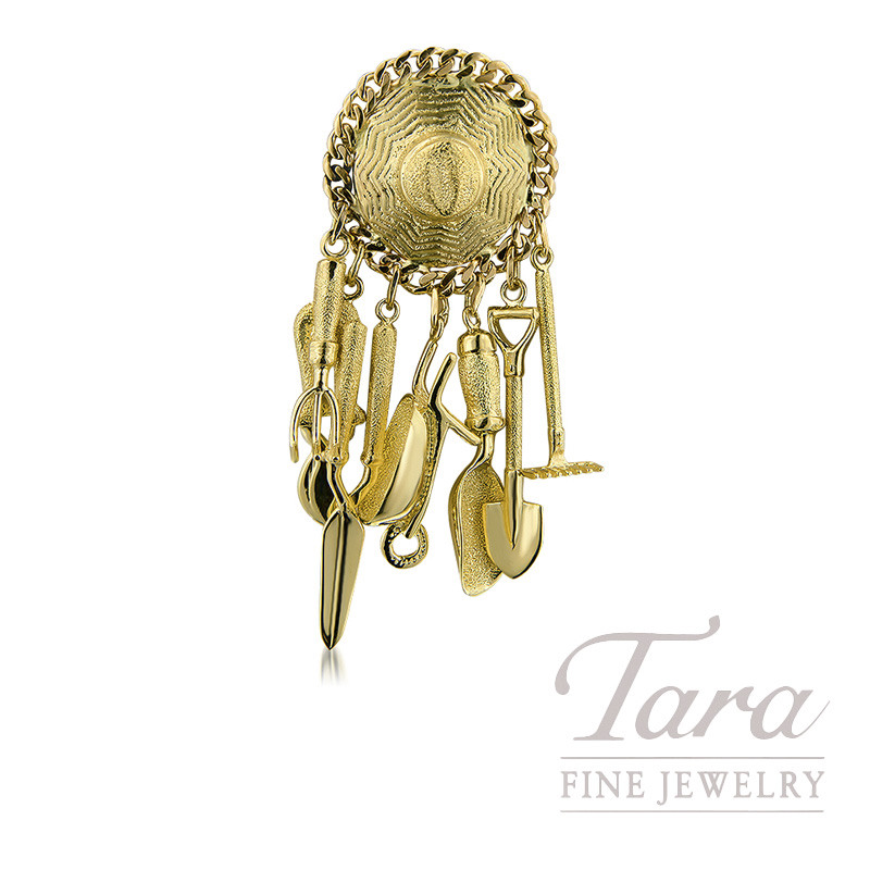 14K Yellow Gold Garden Hat & Tools Pin