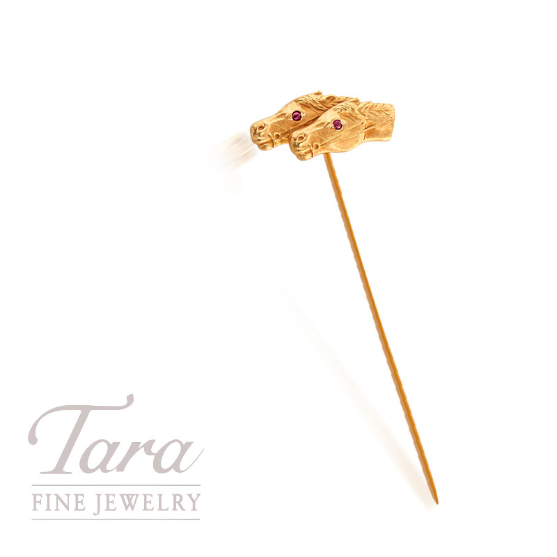 14K Yellow Gold Horse Pin with Two Rubies