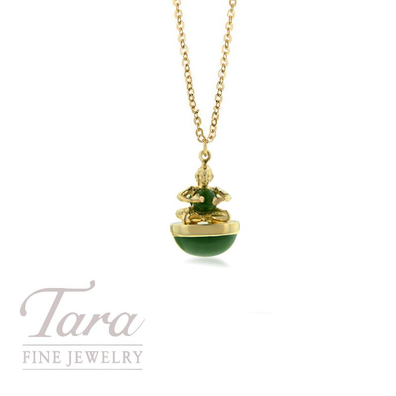 14K Yellow Gold Jade Buddha Charm w/ Chain