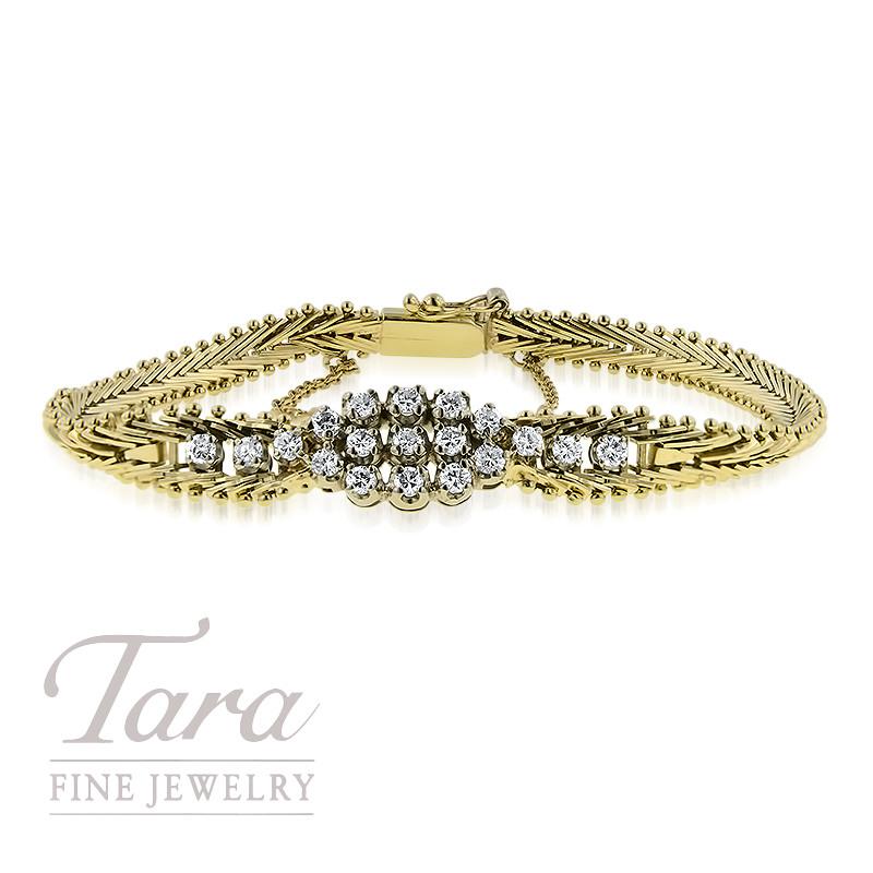 14K Yellow Gold and Diamond Bracelet .75TDW