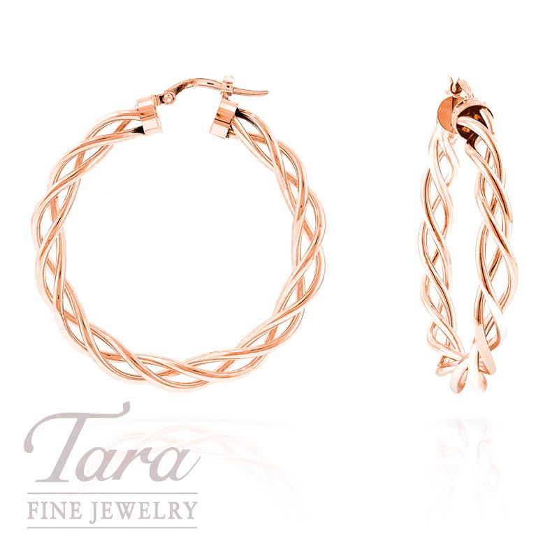 Hoop Earrings in Twisted 14k Rose Gold,  2.7 grams