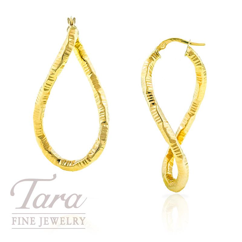 Oval Twist Hoop Earrings in 14k Yellow Gold