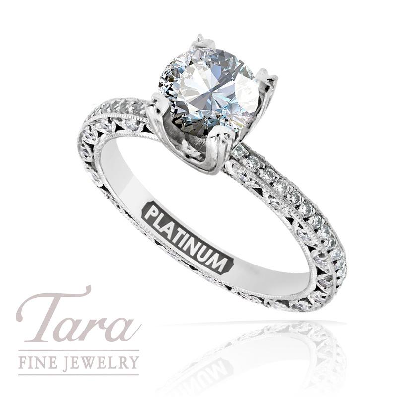 Tacori Diamond Wedding Ring in Platinum, .50 TDW (Center stone sold separately)