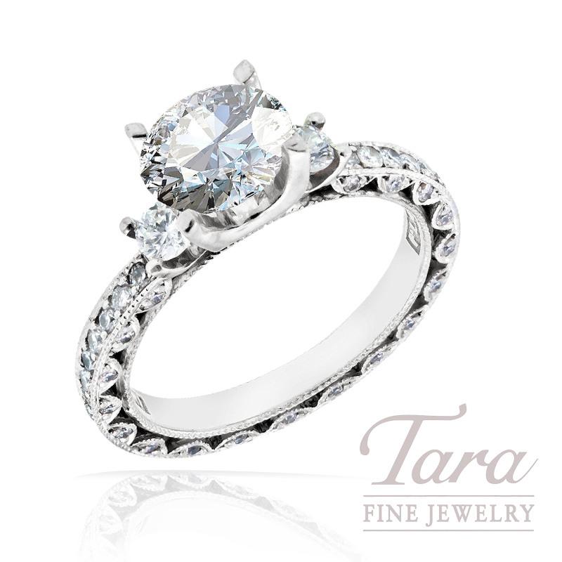 Tacori Diamond Engagement Ring in Platinum, .90 TDW (Center stone sold separately)