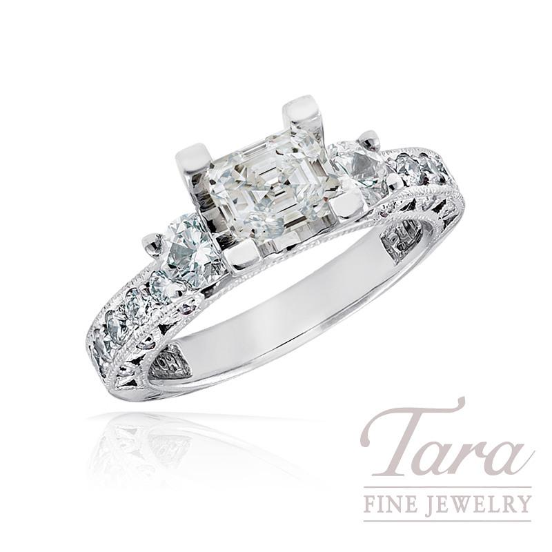 Tacori Diamond Engagement Ring in Platinum, .85 TDW (Center stone sold separately)