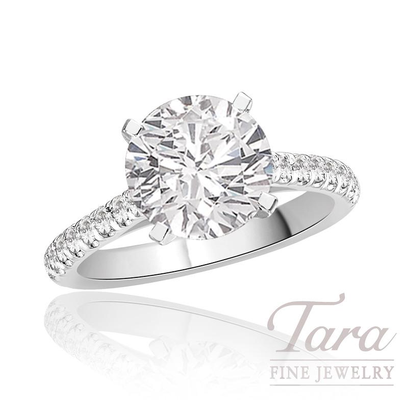J.B. Star Diamond Engagement Ring in Platinum, .38 CT TW (Center stone sold separately)