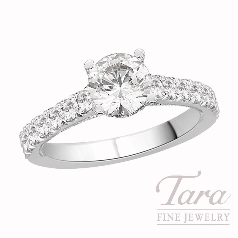 Tacori Diamond Engagement Ring, Platinum, .65 CT TW (Center stone sold separately).