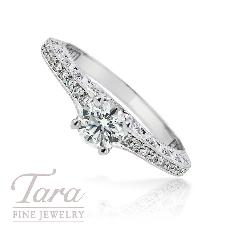 Tacori Diamond Engagement Ring in 18K White Gold,  .70 TDW (Center stone sold separately)