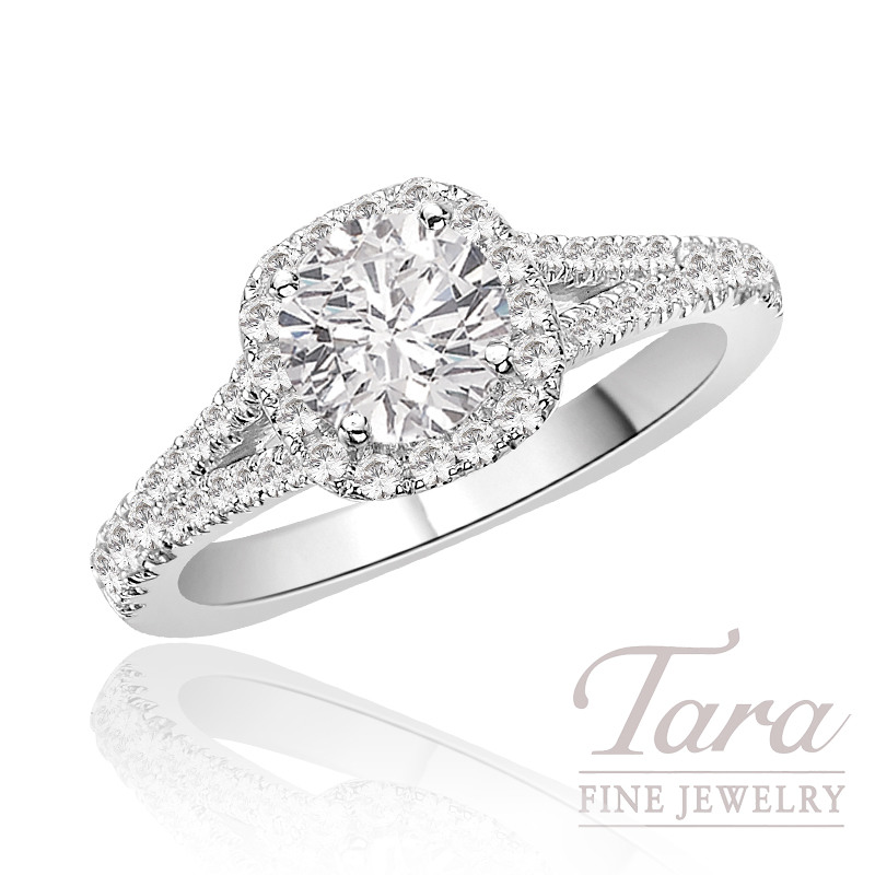 A. Jaffe Diamond Engagement Ring in 18K White Gold, .38 CT TW (Center stone sold separately).