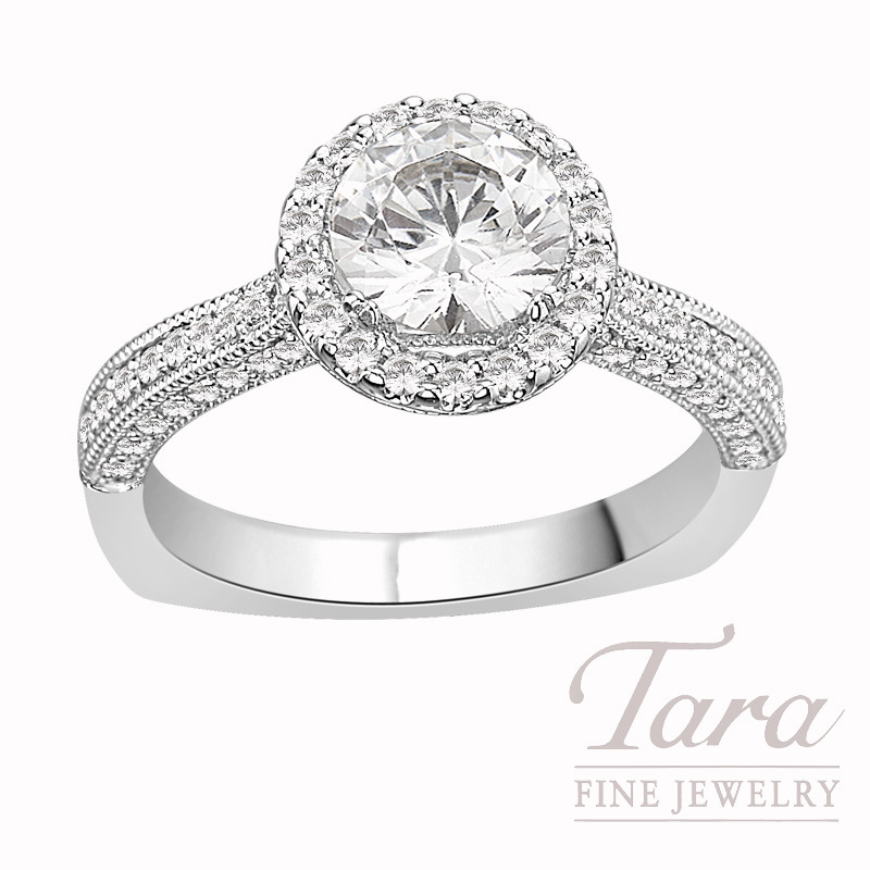 A. Jaffe Diamond Engagement Ring in 18K White Gold, .44 CT TW (Center stone sold separately).