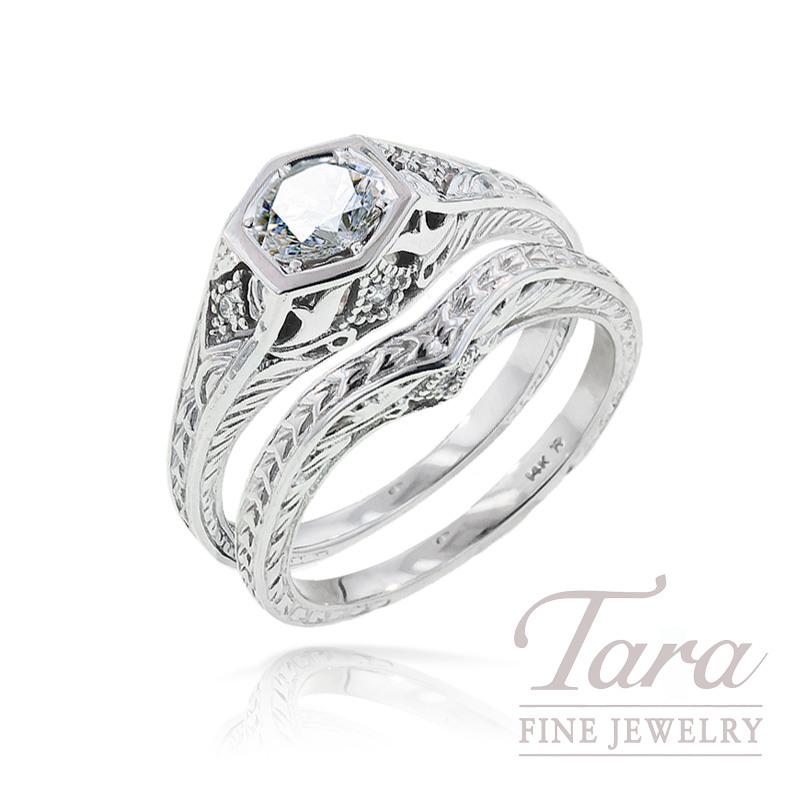 Diamond Engagement Ring in 18k White Gold, .03tdw (Center stone sold separately)