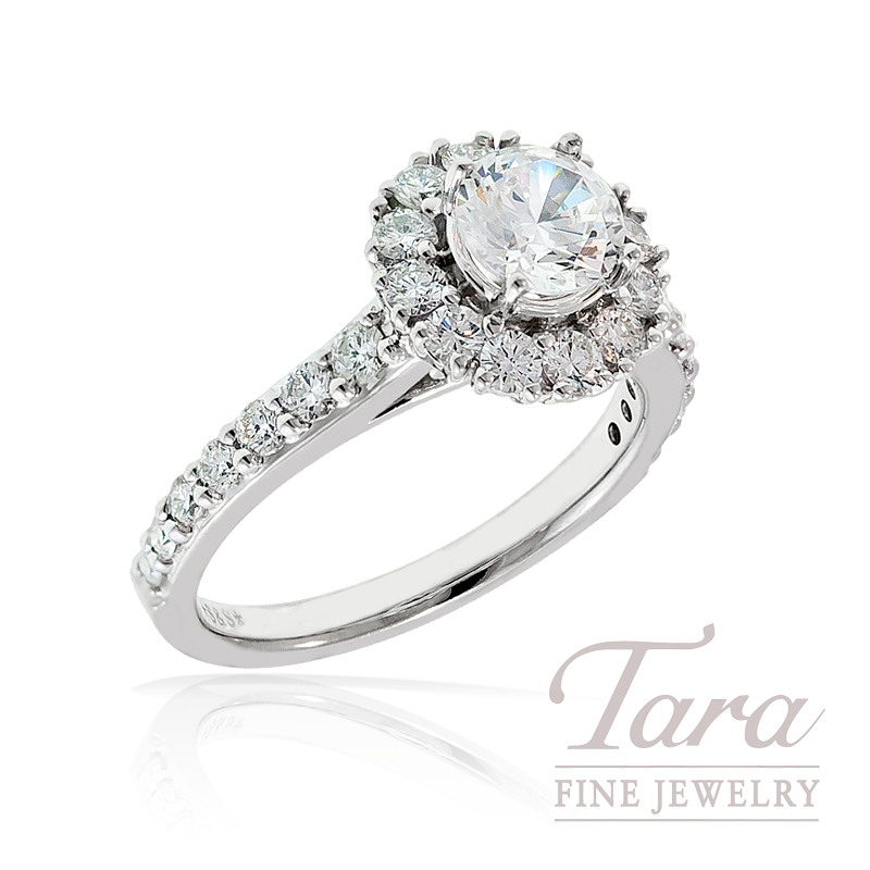 A. Jaffe Diamond Engagement Ring in 18K White Gold, .27 TDW (Center stone sold separately)