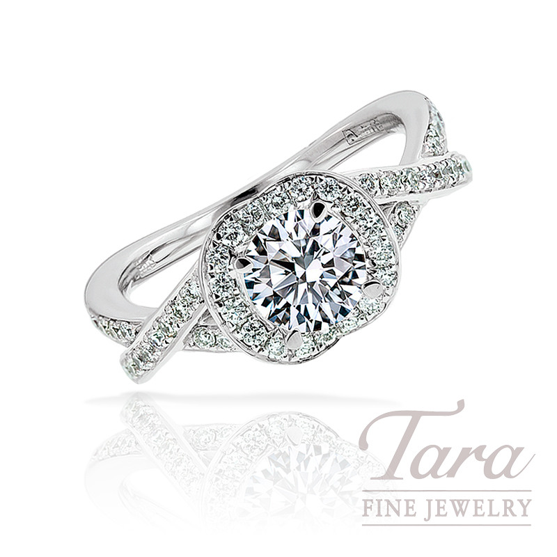 A. Jaffe Diamond Engagement Ring in 18K White Gold, .34 TDW (Center stone sold separately)