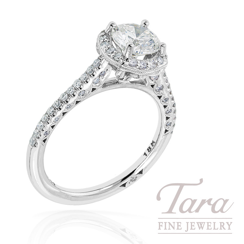 Tacori Diamond Wedding Ring in 18K White Gold, .41ct tdw (Center stone sold separately)