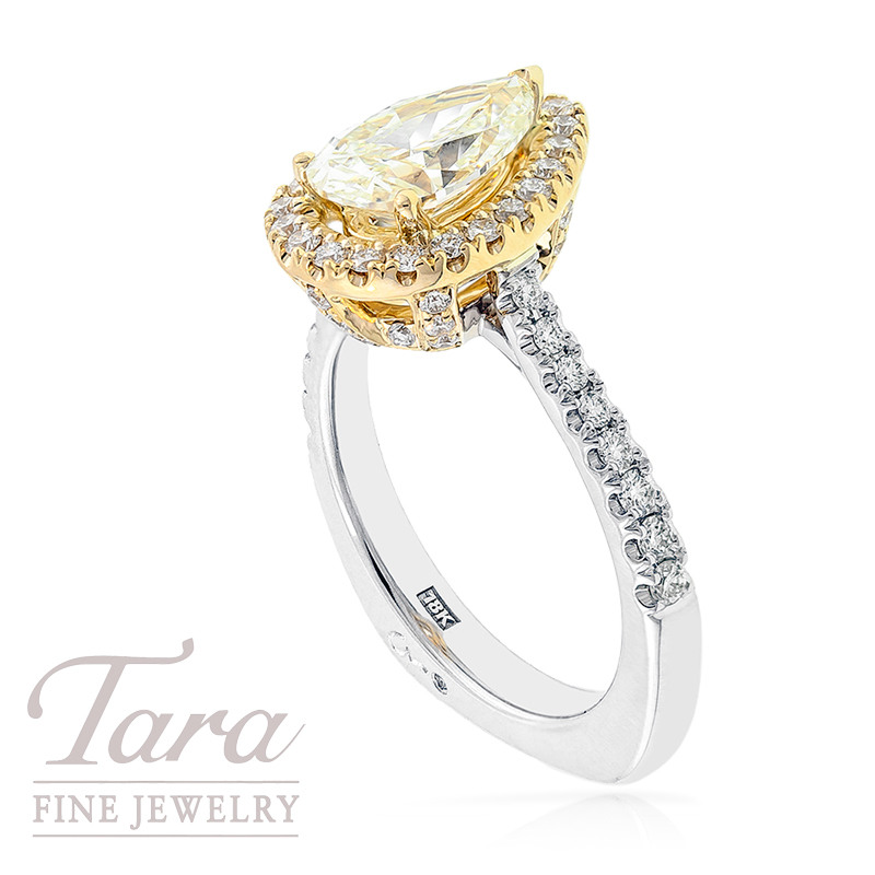 A. Jaffe Diamond Ring in 18K Two Tone Gold, 1.59 CTW and .55 TDW Accents