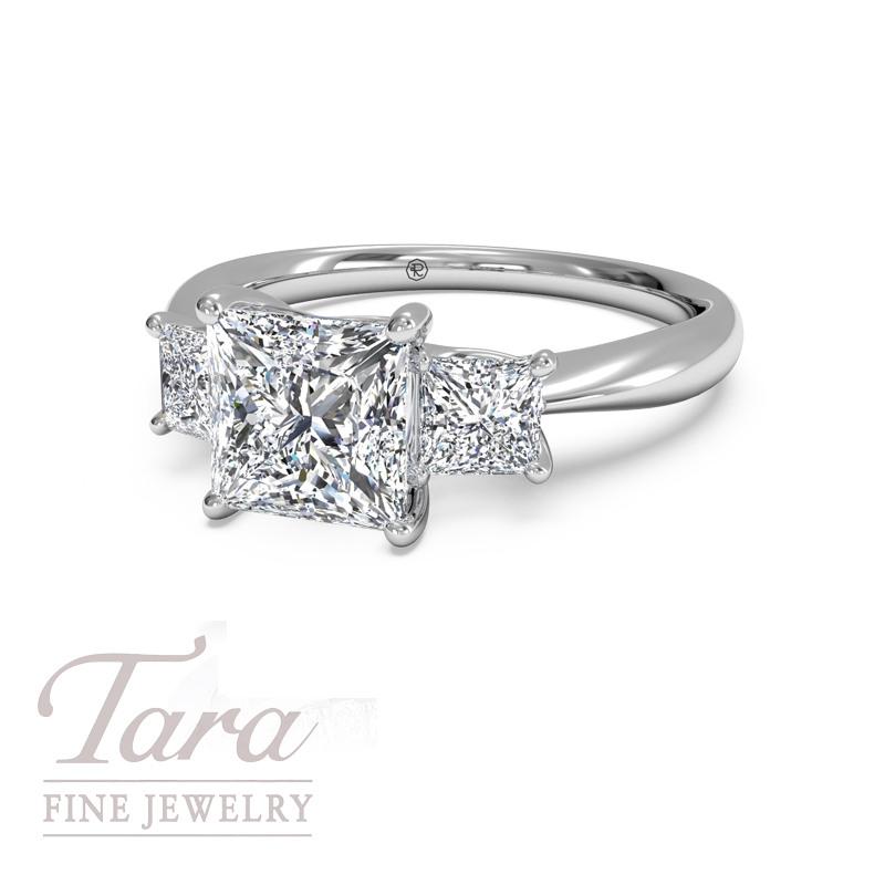Ritani Royal Princess Cut Diamond Engagement Ring .46TDW (Center Stone Sold Separately)