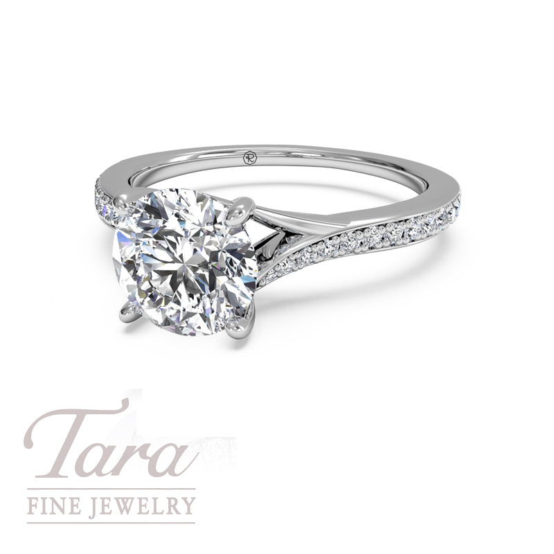 Ritani Modern Diamond Engagement Ring in 18K White Gold .19TDW (Center Stone Sold Separately)