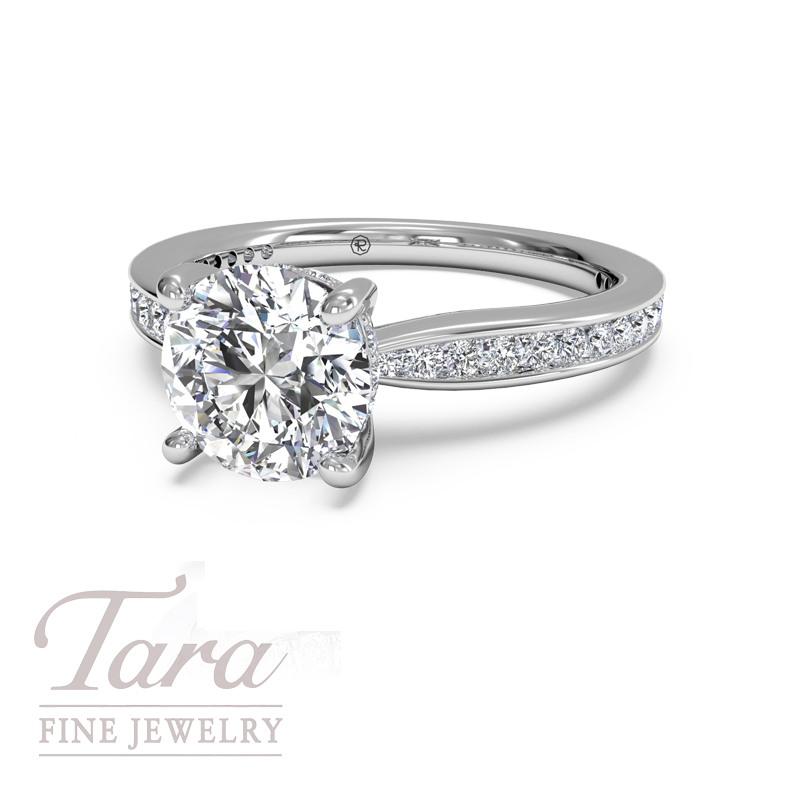 Ritani Classic Diamond Engagement Ring .38TDW in 18K White Gold (center stone sold separately)