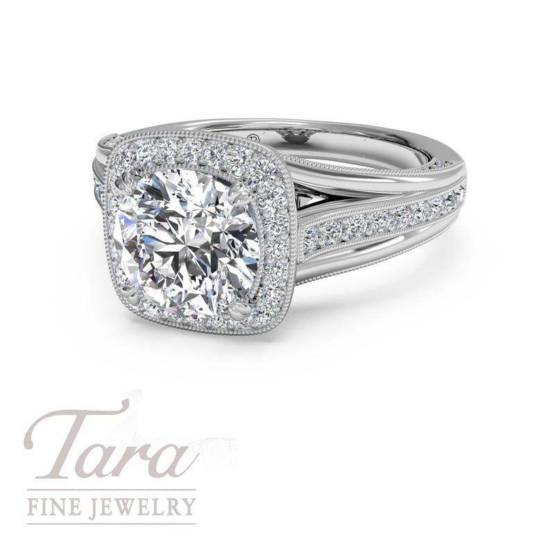 "Ritani ""Masterwork"" Diamond Engagement Ring in 18K White Gold .48TDW (Center Stone Sold Separately)"