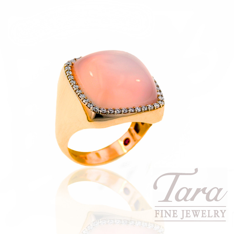 Roberto Coin Rose Quartz and Diamond Ring  .35CT TDW, in 18k Rose Gold