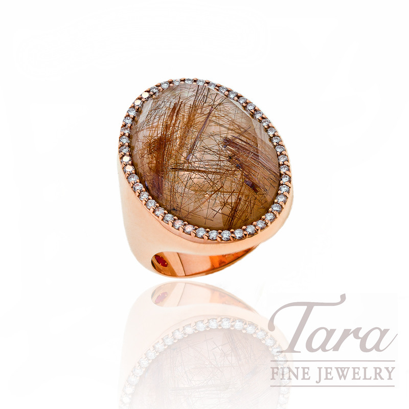 Roberto Coin Quartz & Diamond Ring, .40 TDW in 18K Rose Gold