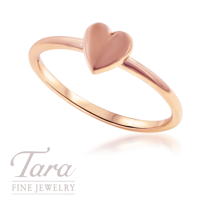 18K Rose Gold Heart Stackable Ring