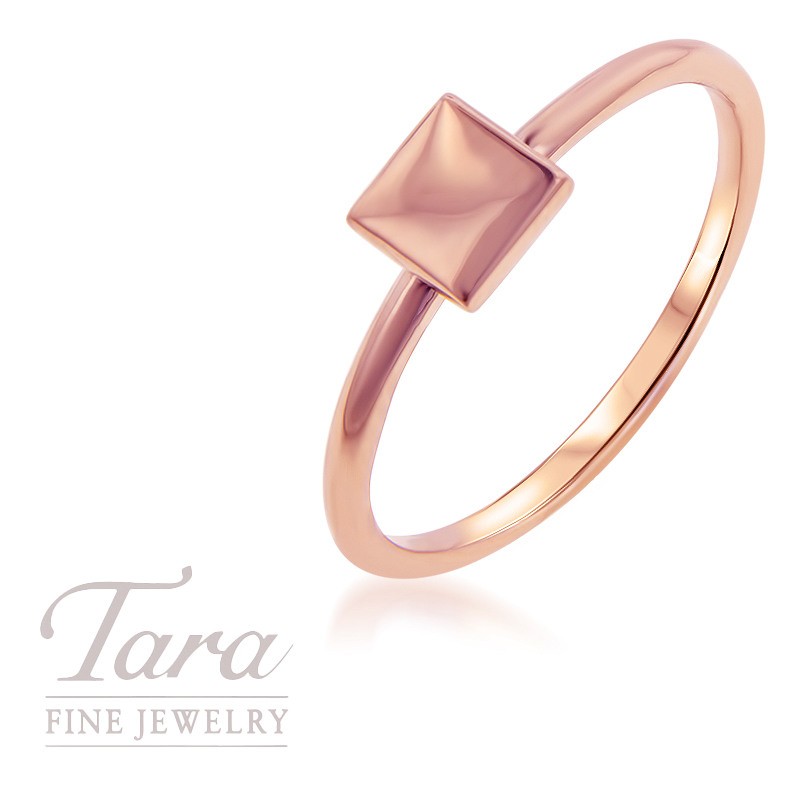 18K Rose Gold Square Stackable Ring