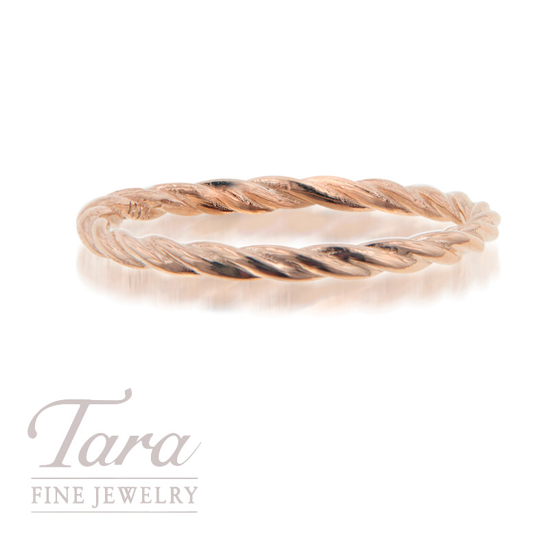 18K Rose Gold Stackable Twist Ring