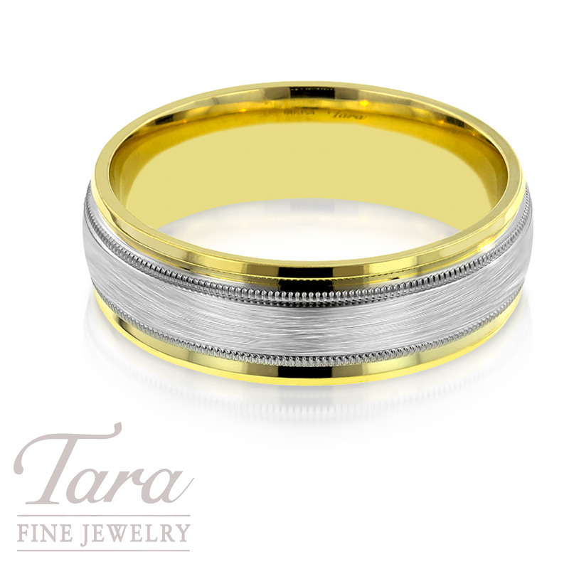Mens Wedding Band in Two Tone Gold, 10.3 Grams