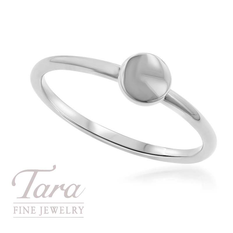 18K White Gold Circle Stackable Ring
