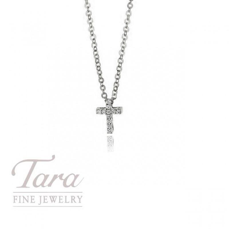 18K White Gold Diamond Cross .03TDW